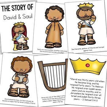 The Story of David and Saul Coloring Pages and Craft Set