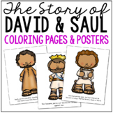 DAVID AND SAUL Bible Story Coloring Pages and Posters, Craft Activity