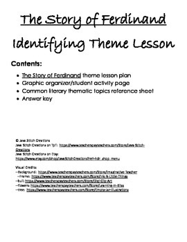 The Story of Ferdinand Theme Lesson Plan