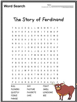 The Story of Ferdinand ~ Word Search