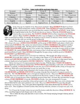 The Story of Georgia Worksheet (Georgia Studies)