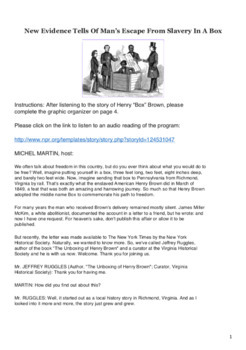 "The Story of Henry ""Box"" Brown - Common Core Activity"