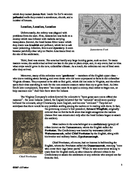 The Story of Jamestown - supplemental text
