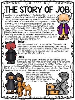 The Story Of Job Bible Story Reading Comprehension Worksheet Tpt