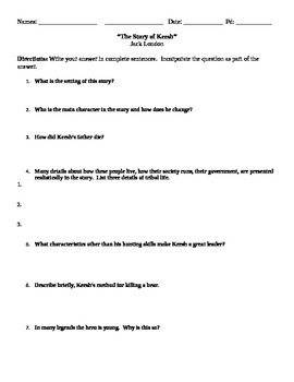 The Story of Keesh Comprehension Questions