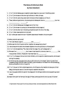 The Story of Little Sure-Shot by Fiona Greenbank Guided Reading Worksheet