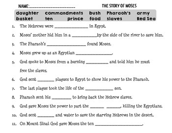 The Story of Moses and the Ten Commandments Fill in the Blank