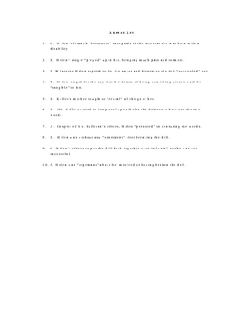The Story of My Life Vocabulary Quiz Worksheet
