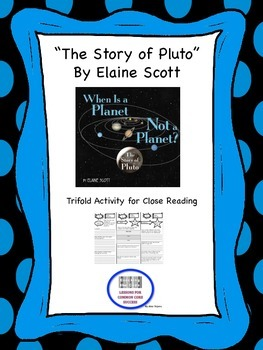 """The Story of Pluto"" Trifold Activity McGraw Hill Reading Wonders 5th Grade"