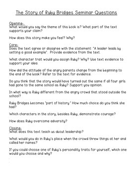 Black History Month- The Story of Ruby Bridge Socratic Seminar Plan