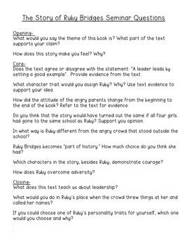 Black History Month- The Story of Ruby Bridge Socratic Seminar Plan