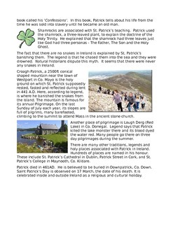 The Story of Saint Patrick - A Reading Comprehension Exercise