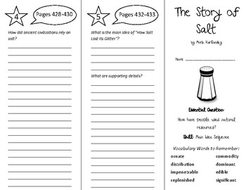 The Story of Salt Trifold - Wonders 6th Grade Unit 6 Week 1