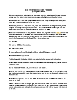 The Story of Solomon for Kids