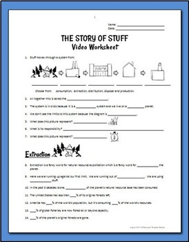 The Story of Stuff - Worksheet, Crossword and Discussion Questions {Editable}