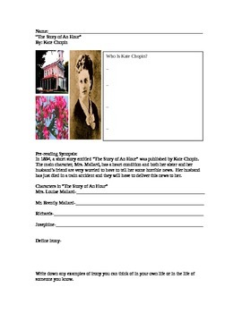 The Story of an Hour by Kate Chopin Guided Reading Worksheet