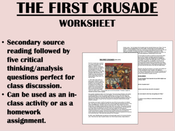 """The Story of the First Crusade"" - Reading with Questions - Global/World History"