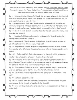 The Story of the Statue of Liberty - Reading Street 3.6.1 Packet