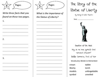 The Story of the Statue of Liberty Trifold - Reading St 3rd Grade Unit 6 Week 1