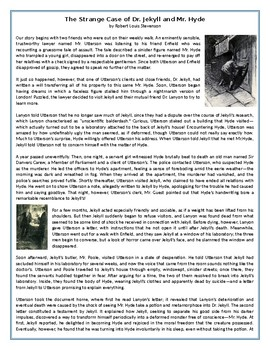 The Strange Case of Dr. Jekyll and Mr. Hyde - GCSE Reading Comprehension