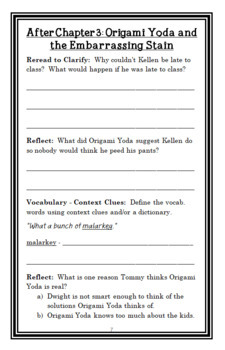 The Strange Case of Origami Yoda (Tom Angleberger) Novel Study / Comprehension