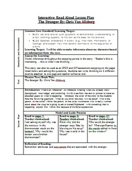 The Stranger Inferencing Interactive Read Aloud Lesson Plan