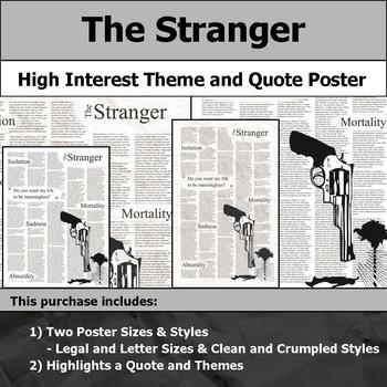The Stranger - Visual Theme and Quote Poster for Bulletin Boards