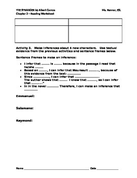 IR The Stranger by Albert Camus Chapter 3 Worksheet