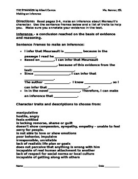 IR The Stranger by Albert Camus Making an Inference Worksheet