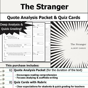 The Stranger by Albert Camus - Quote Analysis & Reading Quizzes
