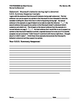 IR The Stranger by Albert Camus normal vs abnormal behavior worksheet