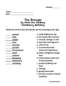 The Stranger by Chris Van Allsburg Vocabulary Matching - Houghton Mifflin