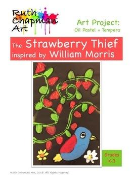 The Strawberry Thief in Oil Pastel + Tempera