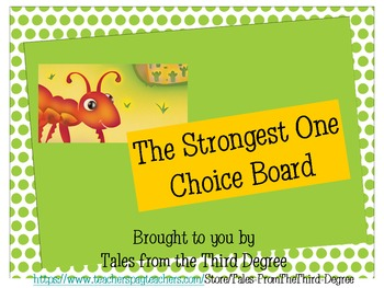 The Strongest One Reading and Writing Response Choice Board
