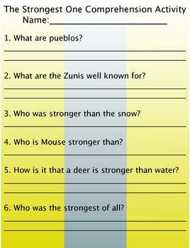 The Strongest One Comprehension/Vocabulary Activity