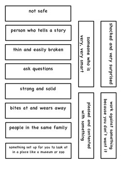 The Strongest One vocabulary flap book