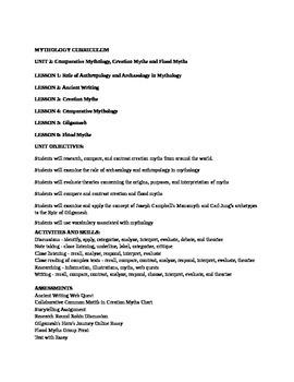 The Study of Mythology Unit 2 Comparative Mythology, Creation & Flood Myths