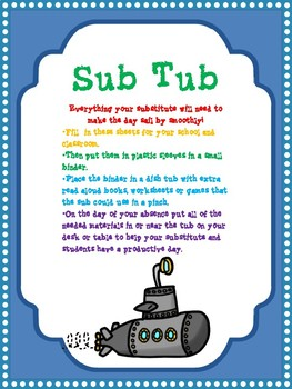 The Sub Tub--a tub and binder for your Substitute Teachers