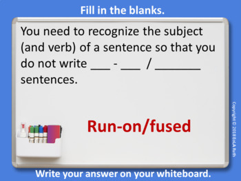 The Subject of a Sentence Individual Whiteboard Lesson