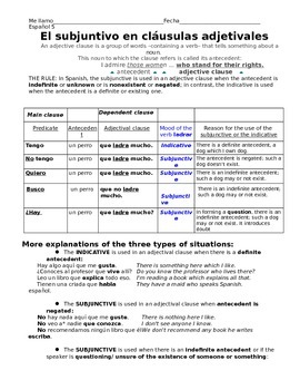 The Subjunctive in Adjective Clauses- reference handout