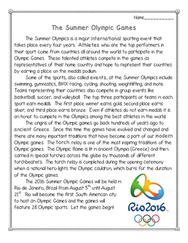 The Summer Olympic Games: Reading Comprehension Pack--Rio 2016