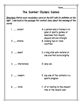 The Summer Olympic Games Reading Comprehension Passage