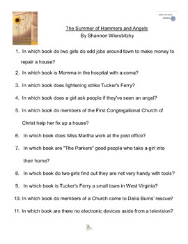 The Summer of Hammers and Angels  By Shannon Wier, Battle of the Books Questions