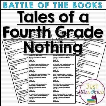Tales of a Fourth Grade Nothing Battle of the Books Trivia Questions