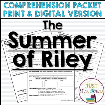 The Summer of Riley Comprehension Packet