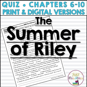 The Summer of Riley Quiz 2 (Ch. 6-10)