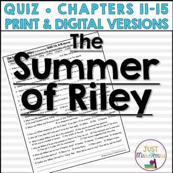 The Summer of Riley Quiz 3 (Ch. 11-15)