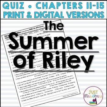 The Summer of Riley Quiz 3 (Ch. 11-15)