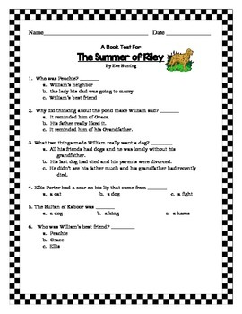 The Summer of Riley, by Eve Bunting:  Book Test and Answer Key