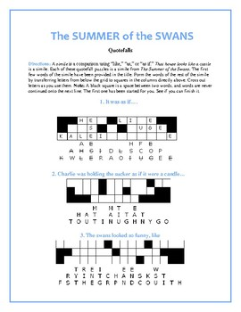 The Summer of the Swans: 10 Quotefall Puzzles—Based on Similes from the Book!